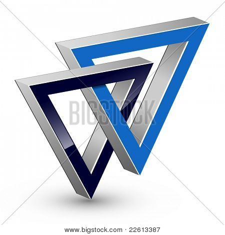Abstract design, two united triangle, vector.