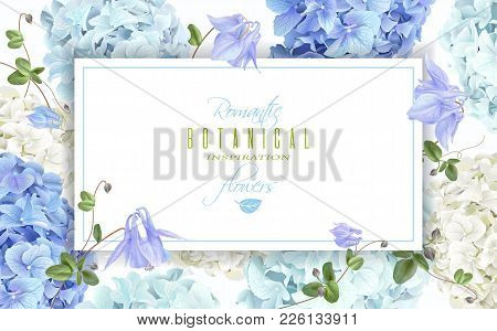 Vector Horizontal Banner With Blue And White Hydrangea Flowers On White Background. Floral Design Fo