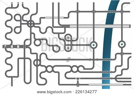 Vector Illustration Of High Road Junction With River. Road Construction Set