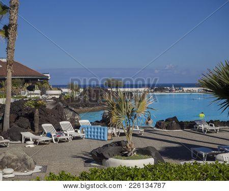 Spain, Canary Islands, Tenerife, Puerto De La Cruz, December 23, 2017, View On Lago Martianez, Compl