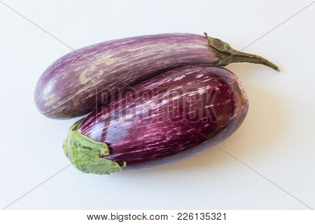Overhead View Of Dominican Eggplants Solanum Melongena Food Ingredients, Isolated On White, Horizont