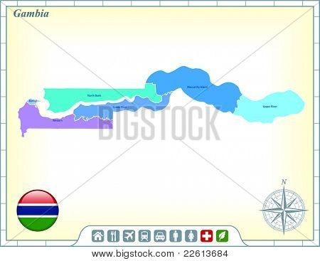 Gambia Map with Flag Buttons and Assistance & Activates Icons Original Illustration
