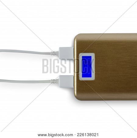 Power Bank For Mobile Phone. White Background