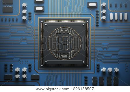 Blue Circuit Board With A Processor On It. Concept Of Modern Technologies And Information. Top View,