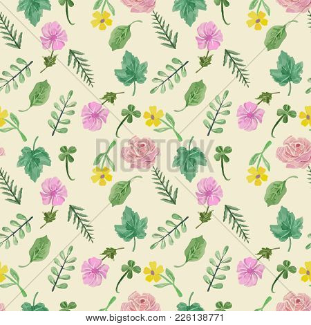Vector Floral Seamless Patern. Colorful Floral Collection With Leaves And Flowers, Hand Drawn  Water
