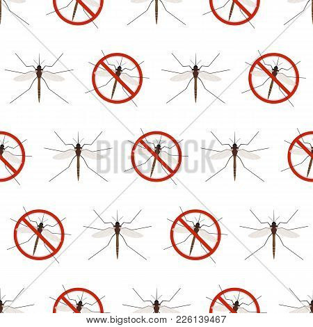 Seamless Pattern Of Mosquito Warning Sign Isolated On White Background. Anti Gnat Symbol In Flat Sty