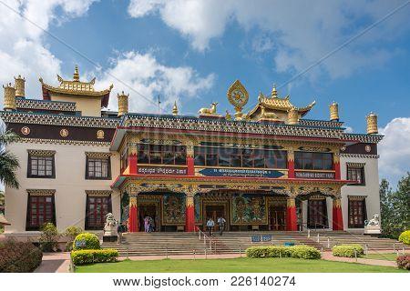 Coorg, India - October 29, 2013: Front Facade And Entrance To Padmasambhava Vihara At Namdroling Bud