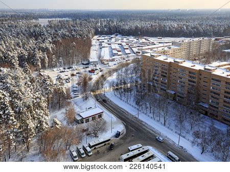 City Of Balashikha In Winter After Snowfall. Moscow Region, Russia.