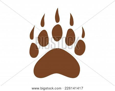 Bear Footprint On White Background, Simple Illustration