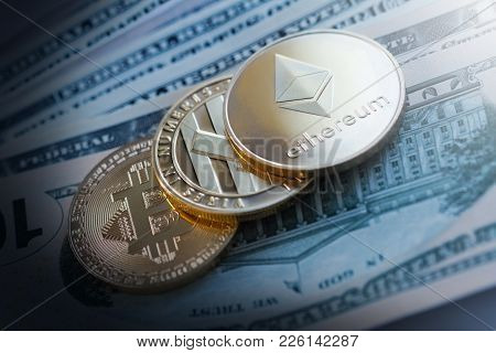 Top View Closeup Exchange Trading Cryptocurrency Concept With Litecoin Ethereum And Bitcoin Golden C