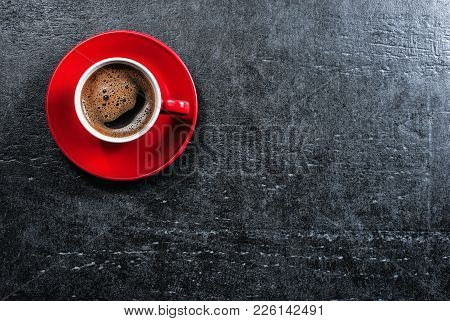 Stone Table With Coffee Cup. Top View