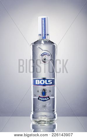 Kwidzyn, Poland - December 18, 2017: Bols Vodka Isolated On Gradient Background. Bols Is Brand Name