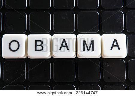 Obama Text Word Title Caption Label Cover Backdrop Background. Alphabet Letter Toy Blocks On Black R