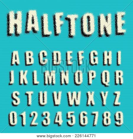 Alphabet Font Template. Set Of Letters And Numbers Dotted Halftone Design. Vector Illustration.