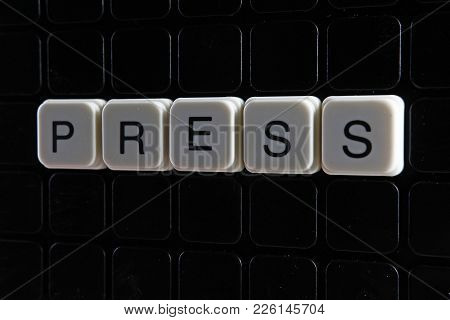 Press Text Word Title Caption Label Cover Backdrop Background. Alphabet Letter Toy Blocks On Black R