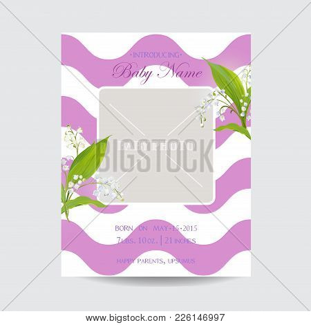 Baby Shower Arrival Card Template With Photo Frame. Floral Invitation With Lily Flowers. Vector Illu