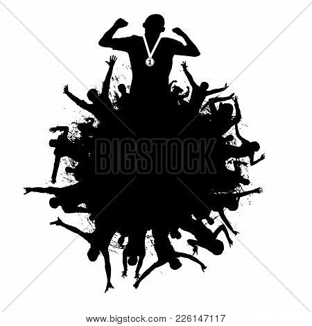 Applause, Fans Crowd. Cheerful Crowd Of People Silhouette. Victory In The Sports. Poster, Emblem, Sy