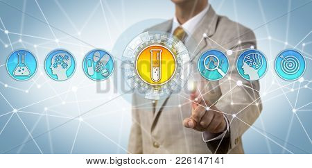Unrecognizable male pharma professional accessing data on the drug discovery process. Pharmaceutical industry concept for intelligent enterprise technology, use of artificial intelligence in R&D. poster