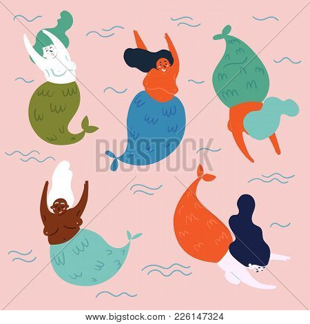 Set Of Underwater Legendary And Mythical Creatures Mermaids. Five Fishwoman In Water Are Having Fun.