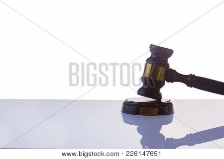 Law And Justice Concept - Law Gavel On Gray Background Isolated On White Background