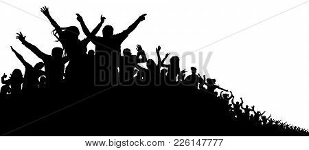 Crowd Of People, Vector Silhouette Background. Concert, Party, Sport, Fans, Cheerful, Applause