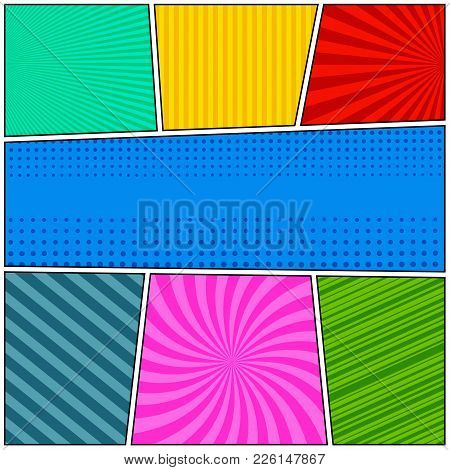 Comic Book Page Composition With Radial Striped And Dotted Humor Effects In Different Colors In Pop-