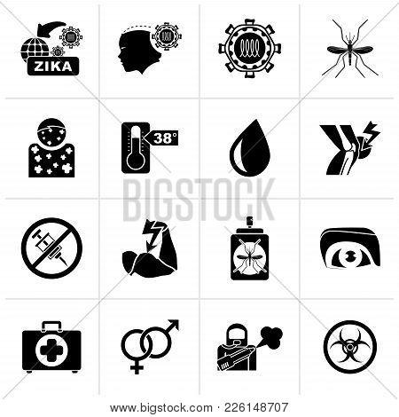 Black Zika Virus Pandemic Icons - Vector Icon Set