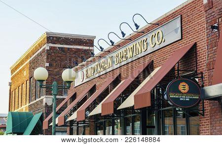 Nebraska, Usa - Aug 8, 2017: Empyrean Brewing Company Brick Building Facade; In The Haymarket Distri