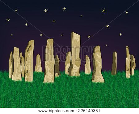 Vector Illustration Of Callanish Stones At Night On A Background Of Dense Green Grass And Starry Sky