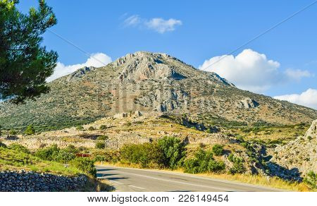 Landscape Of Mycenae Acropolis At The Foot Of The Mountain, Greece.