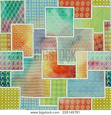 Seamless Texture Of Patchwork Background Decoration In The Form Of Sewn Up Flaps, Fabrics, Embroider