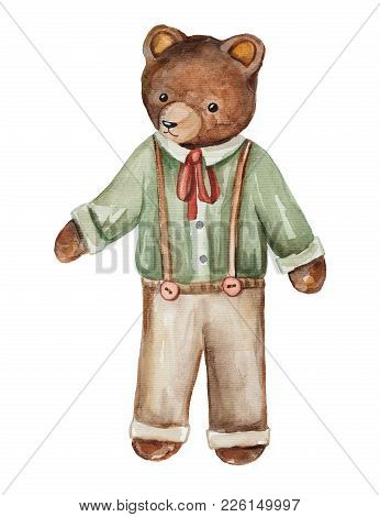 Vintage Watercolor Bear In Pants And Shirt Isolated On White Background