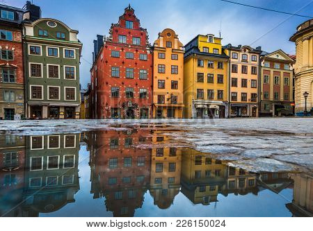 Colorful Houses In Stockholm's Gamla Stan Old Town District, Sweden