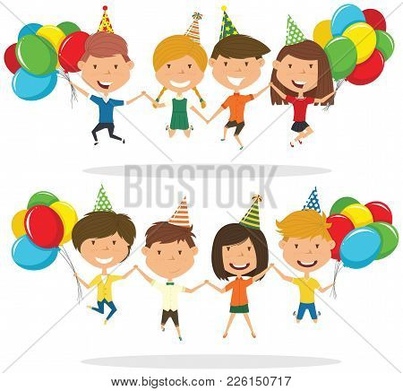 Jumping Boys And Boys Carrying Colorful Wrapped Gift Boxes And Bright Balloons. Happy Birthday Celeb
