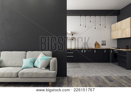 Luxury Studio Interior With Living Room, Kitchen And Copy Space On Wall. Mock Up, 3d Rendering