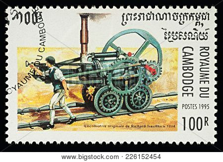 Moscow, Russia - February 11, 2018: A Stamp Printed In Cambodia, Shows First Railway Steam Locomotiv
