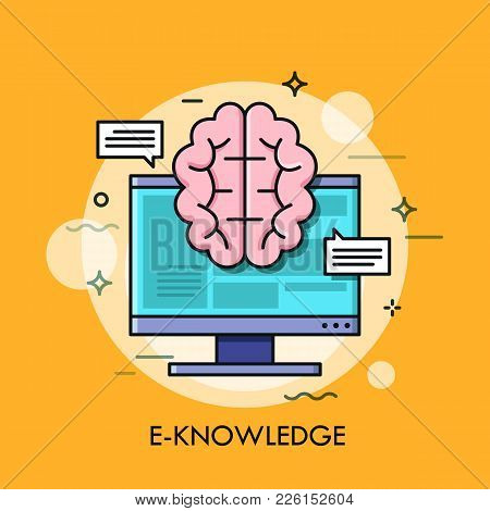 Computer Screen And Brain. E-knowledge, Electronic Learning, Internet Studying And Online Education