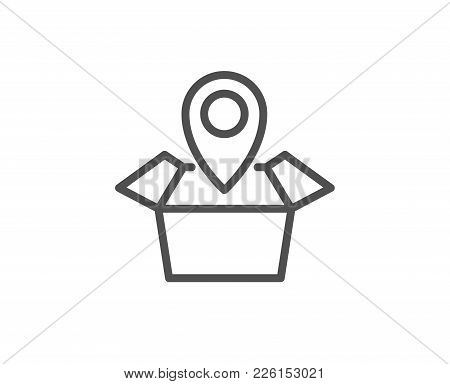 Package Tracking Line Icon. Delivery Monitoring Sign. Shipping Box Location Symbol. Quality Design E