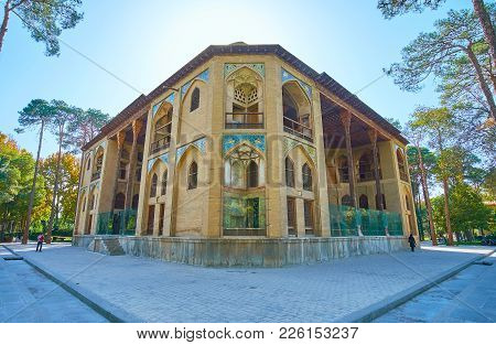 Isfahan, Iran - October 20, 2017: The  Corner Of Hasht Behesht Palace Is Decorated With Arched Niche