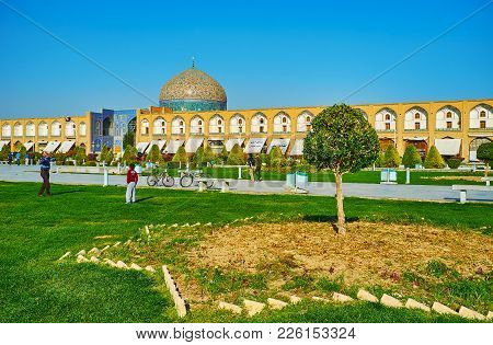 Isfahan, Iran - October 20, 2017: Naqsh-e Jahan Square Is One Of The Most Beautiful Places In City,
