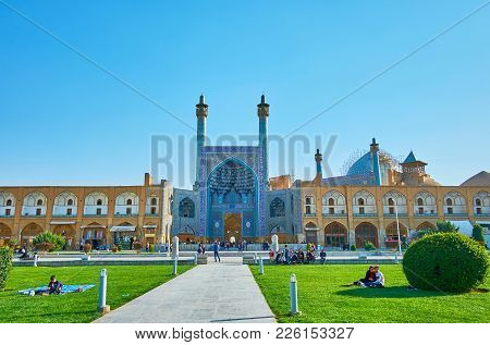 Isfahan, Iran - October 20, 2017: The Locals And Tourists Enjoy The Sites In Naqsh-e Jahan Square, F