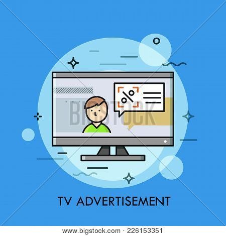 Person And Speech Balloon With Announcement On Tv Screen. Television Broadcast, Marketing And Advert
