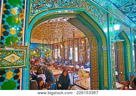 Isfahan, Iran - October 20, 2017: The Splendid Interior Of Nagsh-e Jahan Banquet Hall - The Traditio