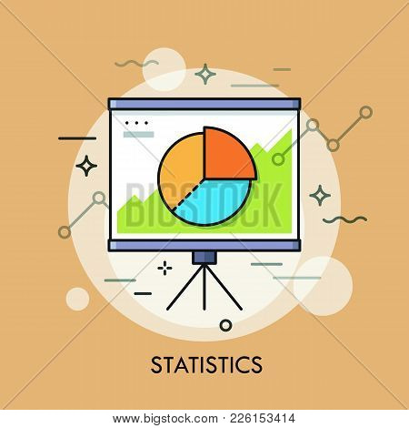 Circular Pie Chart Or Diagram On Whiteboard. Statistics, Statistical Report, Data, Analysis And Econ
