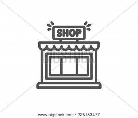 Shop Line Icon. Store Symbol. Shopping Building Sign. Quality Design Element. Editable Stroke. Vecto