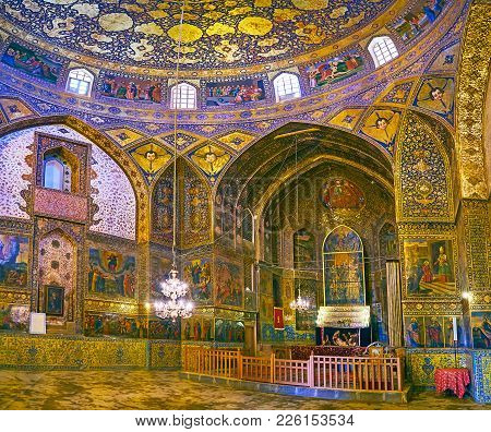 Isfahan, Iran - October 20,2017: Panorama Of Armenian Orthodox Bethlehem Church With Altar And Side