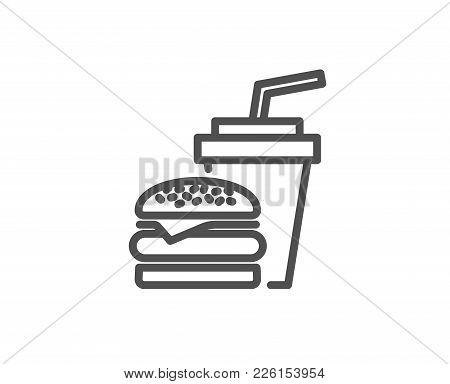 Hamburger With Drink Line Icon. Fast Food Restaurant Sign. Hamburger Or Cheeseburger Symbol. Quality