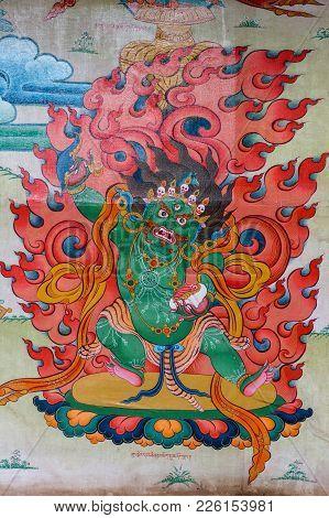 Coorg, India - October 29, 2013: Inside Padmasambhava Vihara Of Namdroling Buddhist Monastery. Detai