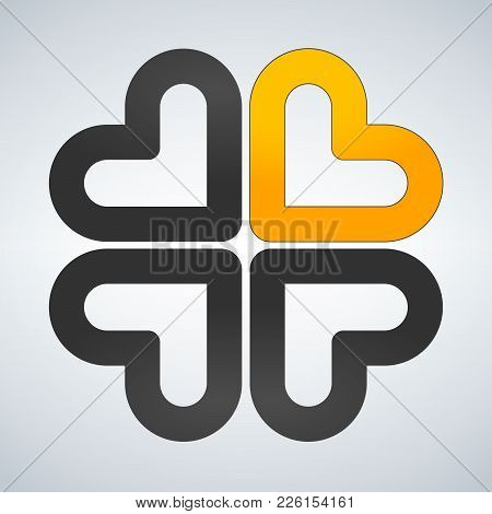 Four Hearts Social Vector Symbol. Heart Cross Logotype. Abstract Flower Leaf