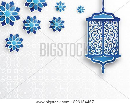 Paper Graphic Of Islamic Lantern And Stars. Islamic Decoration. Ramadan Kareem - Glorious Month Of M